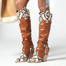 Snake Print Leather Knee-High boots Women Buckle square Heel Cowboy Knees High Boots Plus size 43 western horse riding shoes(China)