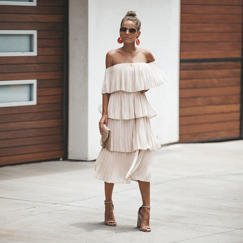 2019 Summer Women Slash Neck Solid Dress 2019 Chiffon Sexy Off Shoulder A Line Dresses Party Night Club Midi Dress Streetwear
