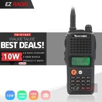 QuanSheng TG K10AT Walkie Talkie 10km VHF Radio 136 174Mhz and optional UHF400 470MHz Two way Radio 4000mAh TG K10AT Ham Radio