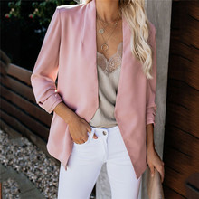Women Blazer 2019 Fall Sleeve Solid Color Casual Office Jacket Blazers Coat Plus Size 5XL No Button Lady Pink White Black