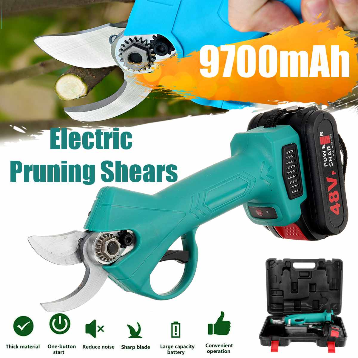 Electric Pruning Scissors Pruning Shears Garden Pruner Secateur Branch Cutter Cutting Tool with 1pc Rechargeable Battery
