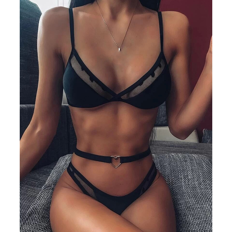 INGAGA Sexy String Bikinis Mujer High Waist Swimsuit Solid Halter Swimwear Women Hollow Out Biquini 2020 New Push Up Bathers 3