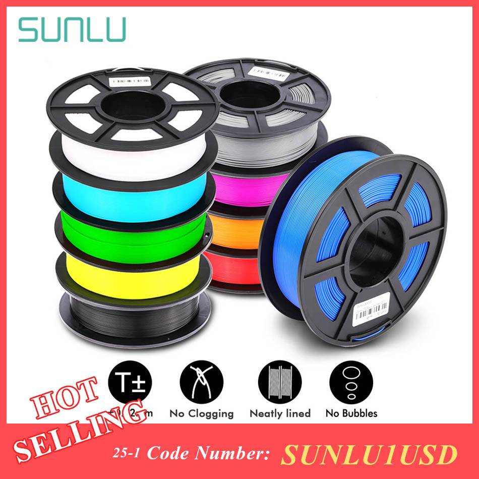 SUNLU 1.75mm PLA PLUS Filament 1KG doğruluk boyut +/-0.02mm çok renkler seçmek için 3D yazıcı Filament plastik PLA
