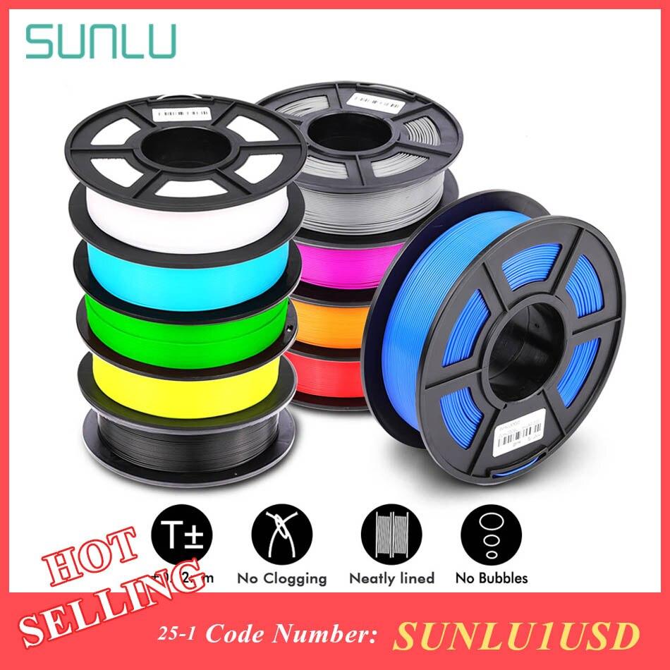 SUNLU, filamento PLA PLUS de 1,75mm, 1KG de precisión, dimensiones +/-0,02mm, multicolores para elegir, filamento de impresora 3D, plástico, PLA
