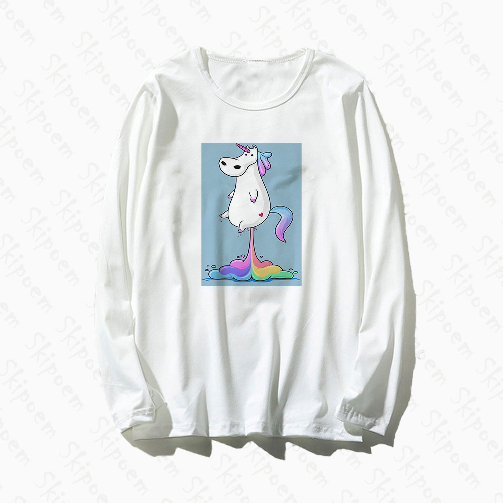Cute Unicorn With Rainbow Women Tshirt Punk Aesthetic Korean Style Vintage Plus Size Cotton Long Sleeve Tee Shirt Femme Clothes