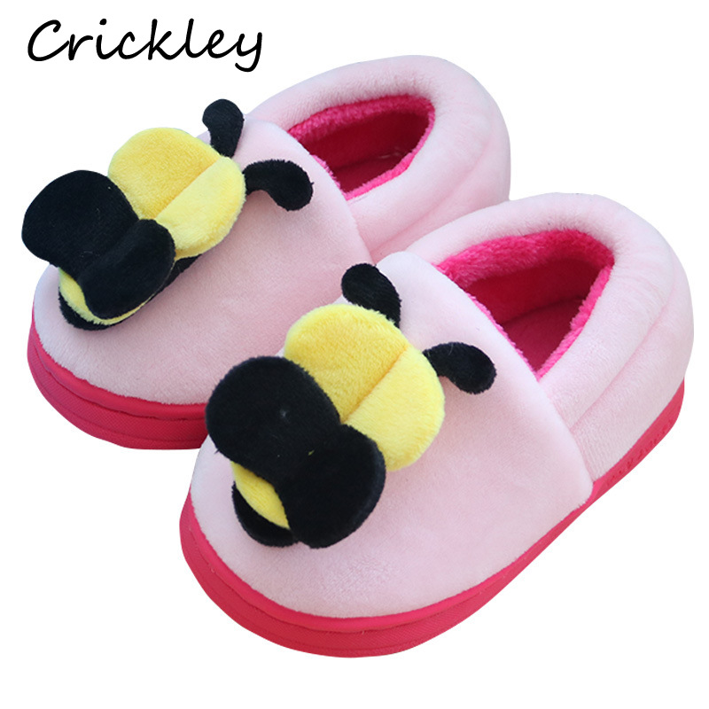 Kids Winter Indoor Slippers Cute Cartoon Little Bee Cotton Shoes for Baby Girls Boys Keep Warm Soft Sole Candy Colors Home
