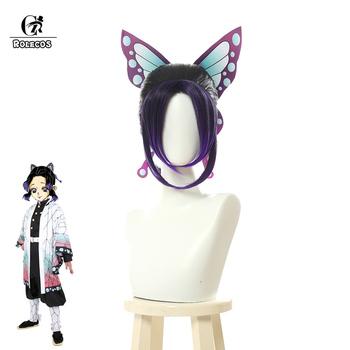 ROLECOS Anime Demon Slayer Kimetsu nie Yaiba Kochou Shinobu kobiety Cosplay żaroodporne syntetyczne gradientowe włosy tanie i dobre opinie one size WOMEN Synthetic High Temp Fiber Kostiumy Nakrycia głowy ML357