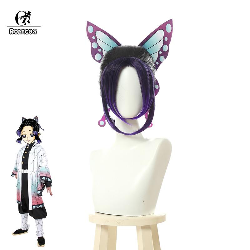 ROLECOS Anime Demon Slayer Kimetsu No Yaiba Kochou Shinobu Women Cosplay Heat Resistant Synthetic Gradient Hair