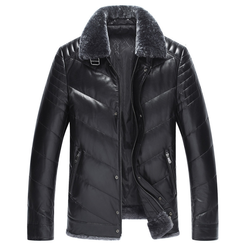 Genuine Leather Jacket Winter Jacket Men Real Sheepskin Coat Men Wool Fur Collar Leather Down Jacket Veste L18-2000 Homme MY1651