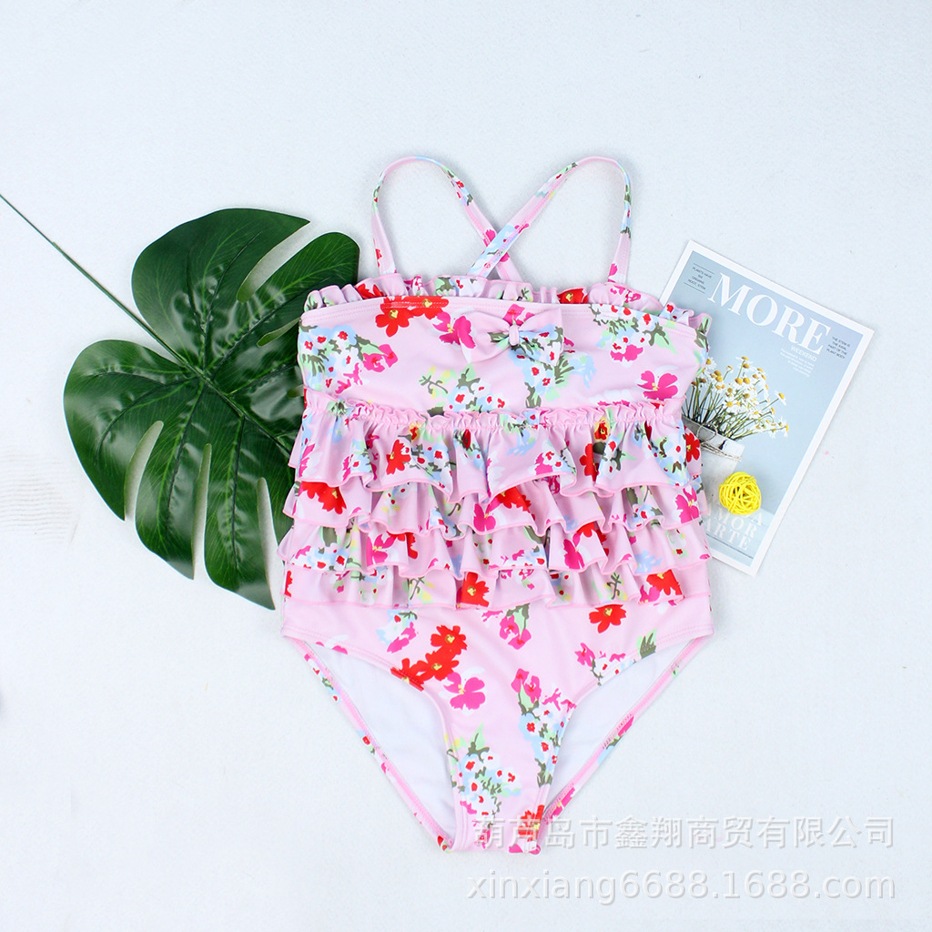 2019 New Style KID'S Swimwear Flounced Floral-Print Bow Cake Layer One-piece Bikini Hot Springs Tour Bathing Suit