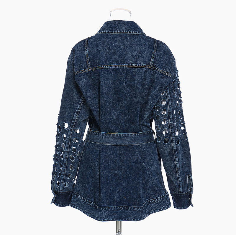 [EAM] Loose Fit Blue Hollow Out Big Size Denim Jacket New Lapel Long Sleeve Women Coat Fashion Tide Spring Autumn 2020 1Y720 4