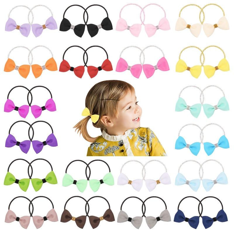 2PCS New Candy Bowknot Kids Elastic Hair Bands Princess Headwear Cute Children Ropes Girls Accessories Baby Headdress