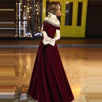 It's Yiiya Evening Dresses Off Shoulder Velour Evening Dresses Boat Neck Long Formal Gowns 2020 Burgundy robe de soiree LF127