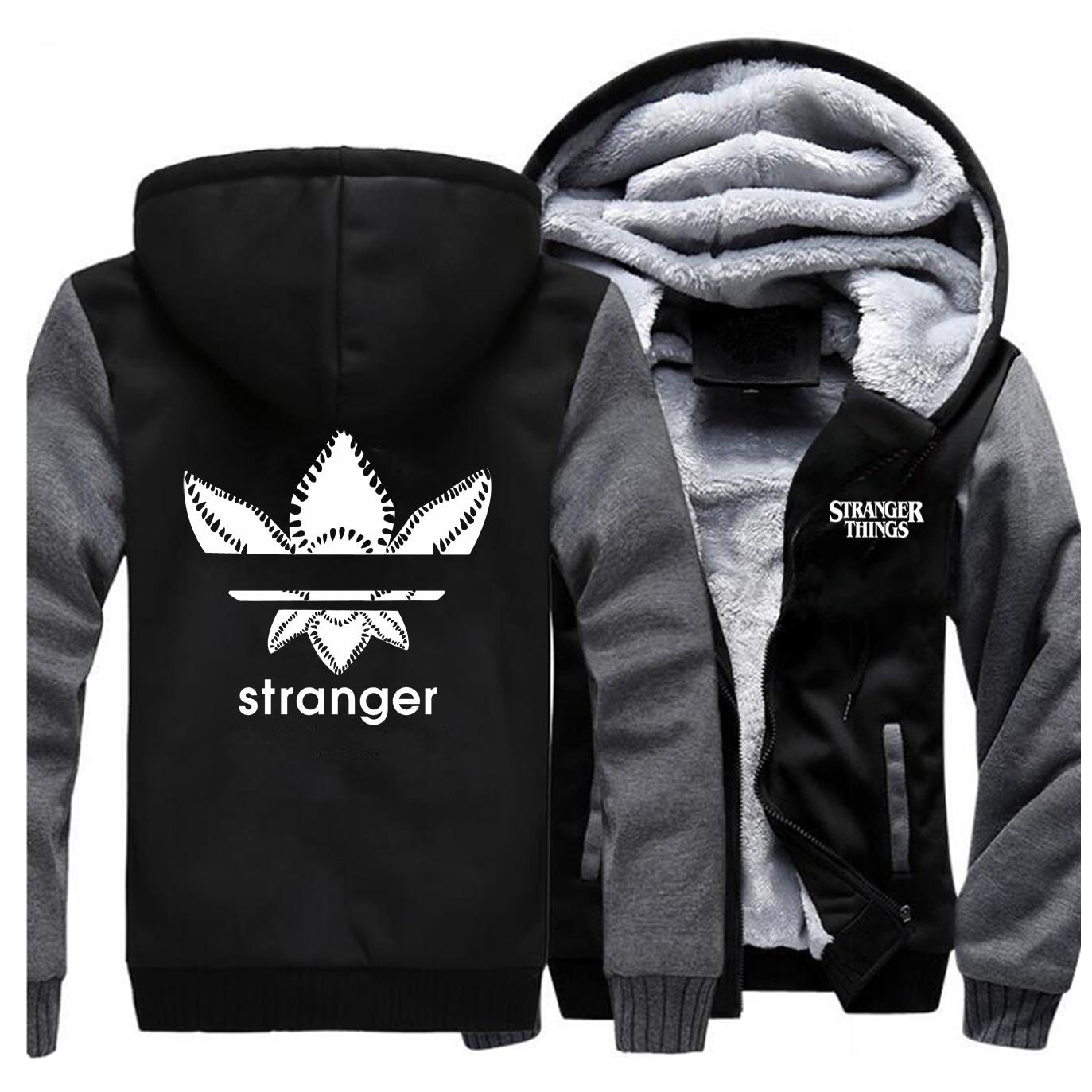 Stranger Things Jackets Men Brand Eleven Ghostbuster Sweatshirt Hoodies Winter Thick Zipper Fleece Warm Coat Jacket Sportswear