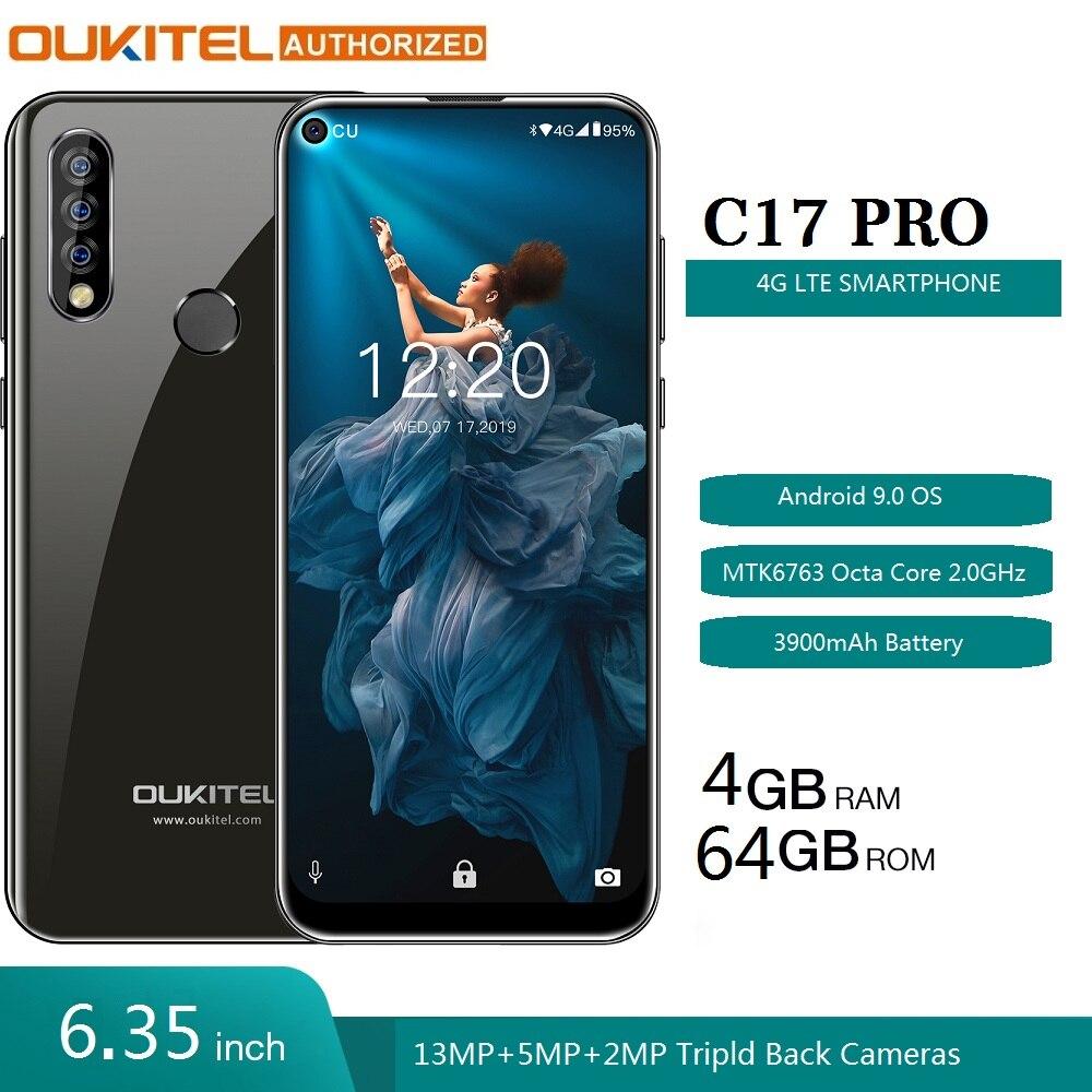 "OUKITEL C17 Pro 6.35"" 19:9 Android 9.0 Mobile Phone MT6763 Octa Core 4G RAM 64G ROM Fingerprint 4G 3900mAh Smartphone"
