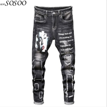 New Men Jeans 100% Cotton Classic Hand-painted Beggars jeans Trousers Cool Top Quality Fashion Men Jeans Free shipping #2036