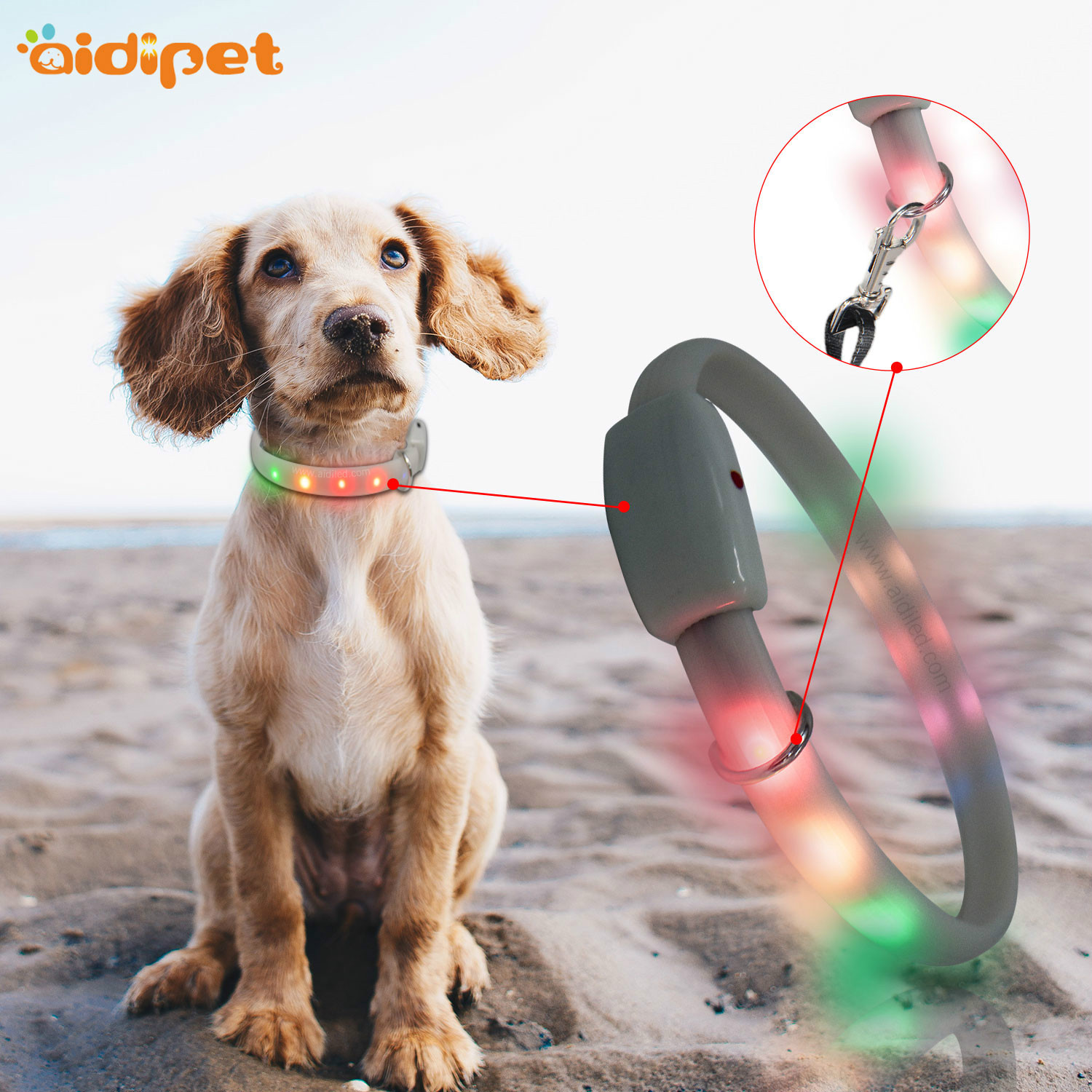 Colorful Silica Gel Neck Ring RGB Horse Race Lamp Pet Collar Waterproof And Pull Resistance LED Dog Collar