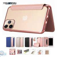 Portefeuille de luxe Livre Flip etui de téléphone en cuir synthétique polyuréthane Pour iPhone 11 XR XS Max 5 5S SE 6 6S 7 8 Plus Transparente transparente Coque Arrière