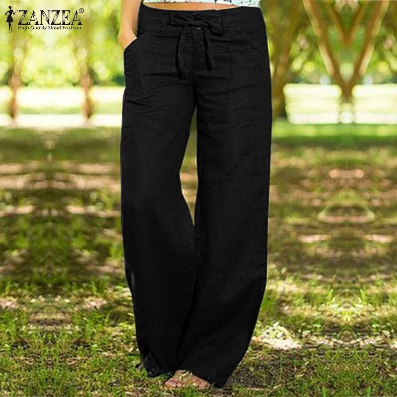2019 Fashion Pants ZANZEA Autumn Solid Wide Leg Trousers Vintage Cotton Long Pantalon Women Casual Zipper Work OL Pants Female