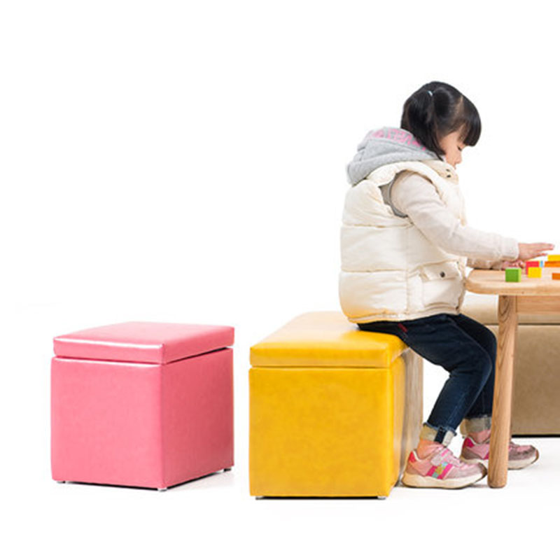 Children's Stool Cute Colorful Storage Stool Solid Wood PU Sofa Stool Multifunction Household Makeup Stool Change Shoe Bench