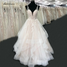 Lakshmigown Vestido de Noche Blush Pink Wedding Dress New 2020 V Neck Luxury Beading Lace Bridal Wedding  Gowns Real Photo