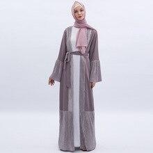 Lüks açık Abaya müslüman elbise kadın artı boyutu Kimono dış giyim uzun elbiseler parlama kollu dantel up Jubah Dubai arap islami giyim
