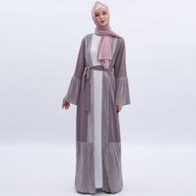 Luxe ouvert Abaya robe musulmane femmes grande taille Kimono vêtements dextérieur Robes longues manches évasées à lacets Jubah dubaï arabe vêtements islamiques