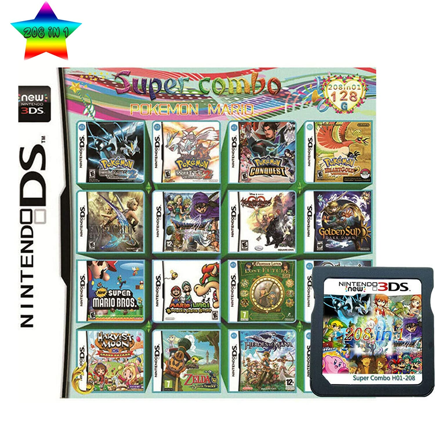 208 in 1  MULTI CART  Super Combo  Video Games Cartridge Card Cart Pokemon for Nintendo DS NDS 3DS XL 3DSXL 2DS NDSL NDSI