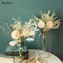 European Artificial flowers Bouquet for Home Party Decoration Wedding Bouquet Flowers 38cm Bulrush Silk Hydrangea Fake Flowers