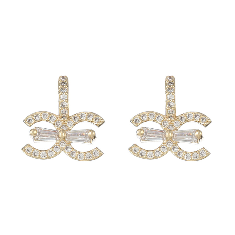 LISM 925 Sterling Silver Top Brand Hight Quality Double C Cubic Zirconia Drop Earrings For Women 2020 Gift Jewelry