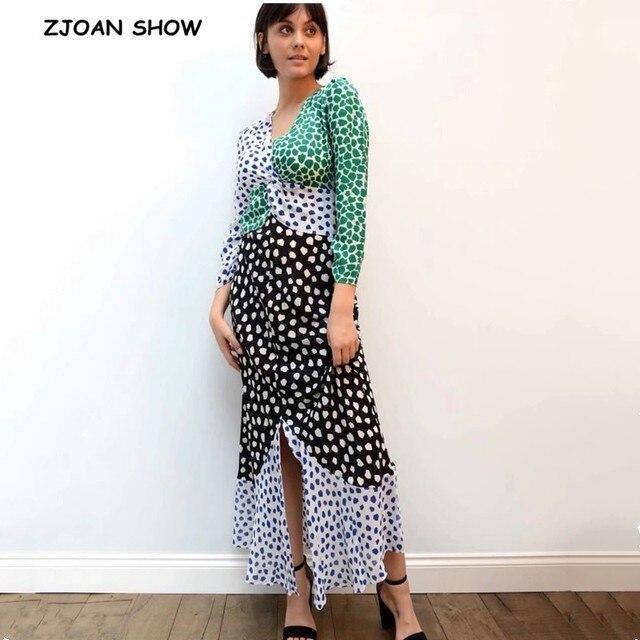 2019 Autumn Vintage Print plaid Chiffon Dress Long sleeve V neck Contrast Color Stitching Split Dresses New Casual Slit vestido