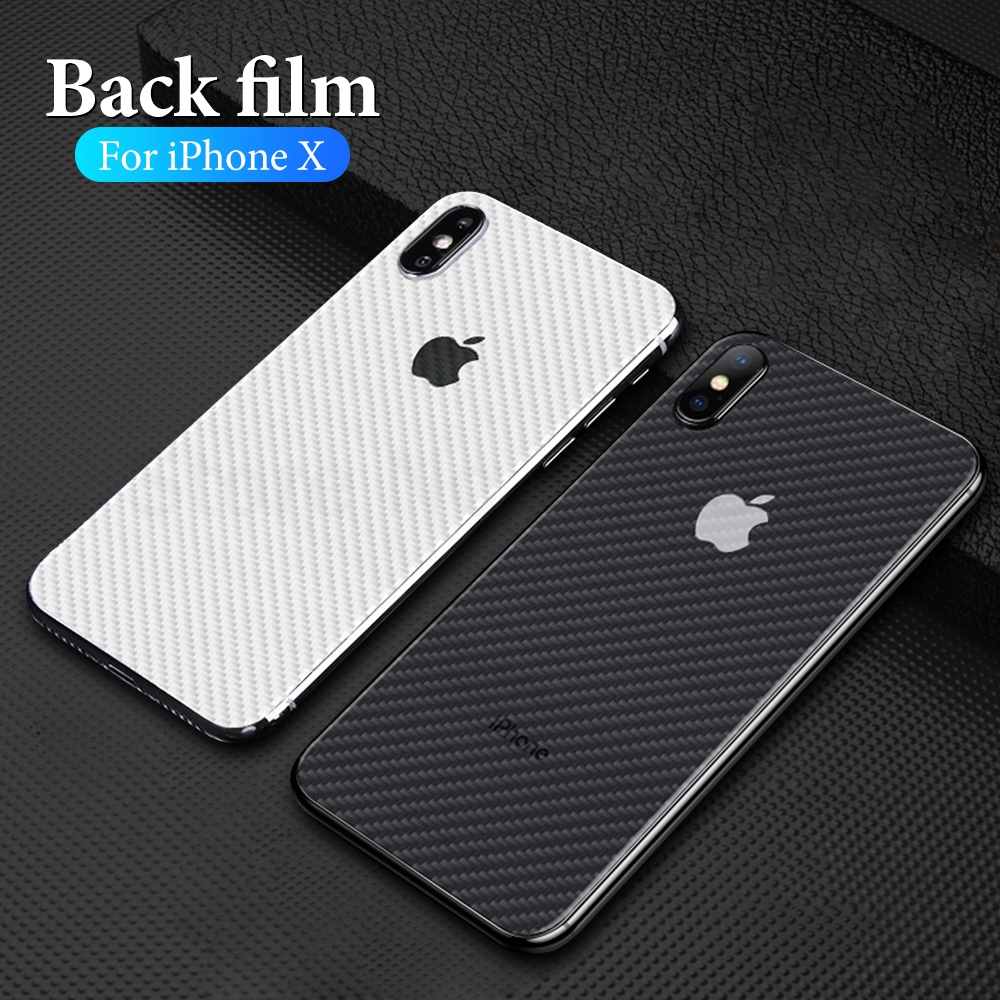 Carbon Fiber For Iphone XS 7 8 XR X 6 6S XS Max 7 8 Plus 6 6S Plus Phone Back Screen Protector Sticker Transparent Film