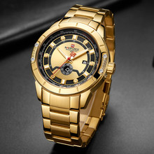 NAVIFORCE Men Watch Top Brand Luxury Men Fashion Gold Business Watches Casual Date and Week Display Wristwatch Relogio Masculino(China)