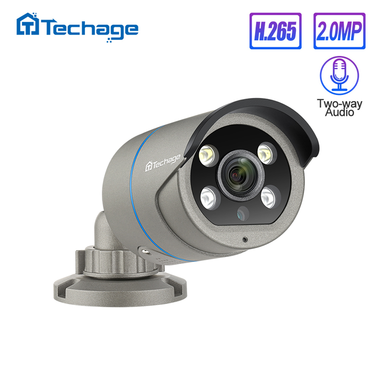 H.265 1080P 2.0MP POE IP Camera Two Way Audio IR Outdoor Waterproof P2P ONVIF CCTV Security Video Surveillance AI Camera For NVR