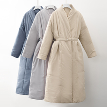 Thick Coat Outerwear Belt Maxi Warm Parka Oversized Women Winter New-Design Long Casual