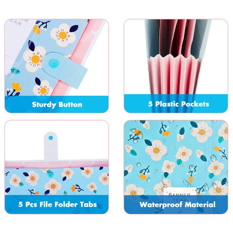 6Pcs File Storage Bag Extended Folder Storage Bag Plastic A4 Size Folder For School Teacher Office Documents