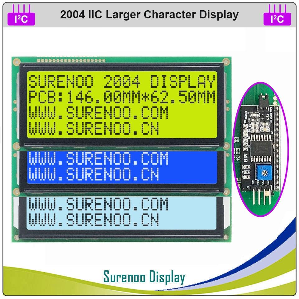 Серийный IIC / I2C / TWI 2004 204 20*4 большой символ ЖК-модуль дисплей желтый зеленый синий FSTN с подсветкой для Arduino