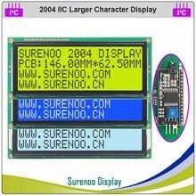 Série iic/i2c/twi 2004 204 20*4 maior caráter lcd módulo display amarelo verde azul fstn com luz de fundo para arduino