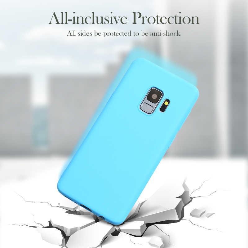 Candy สีซิลิโคนสำหรับ Samsung Galaxy A50 A10 A30 A40 A70 A20e A2 Core A5 2017 A6 PLUS a9 A7 2018 ฝาหลังโทรศัพท์