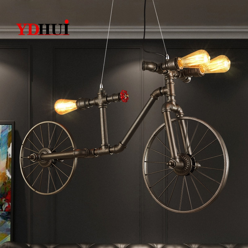 American Iron Art Restoration Cafe Bedroom, Bar, Industrial Wind, Creative Cyber Cafe, Cyclic Water Pipe Decorative Chandelier W