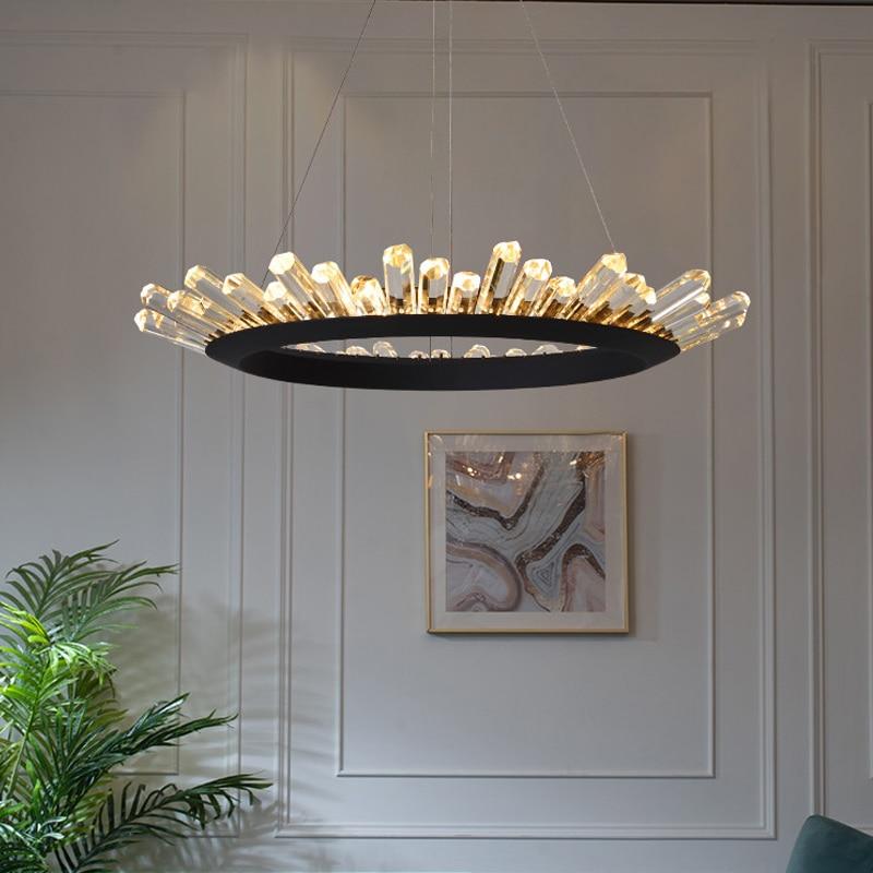 Jmzm Nordic Crystal Chandelier Circular Ring Villa Duplex Building Modern Living room Dining room Indoor Lighting