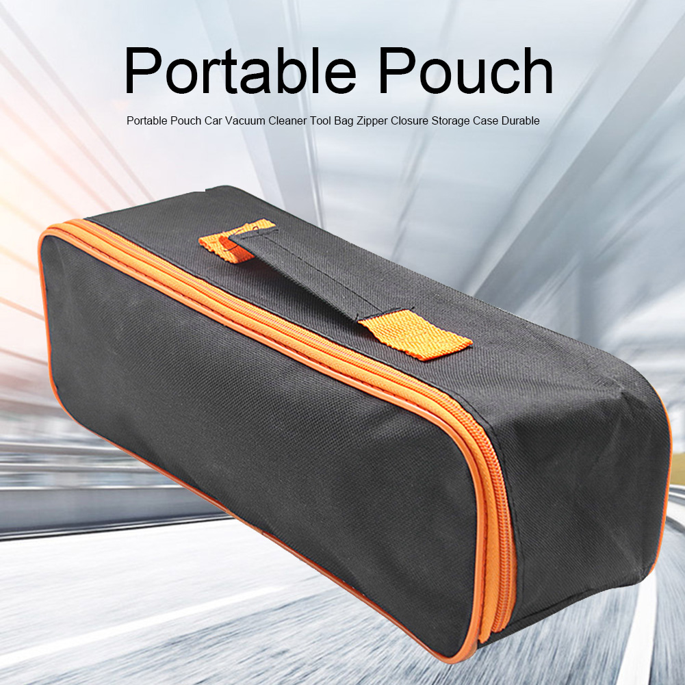 Portable Pouch With Handle Accessory Organizer Black Storage Case Vacuum Cleaner Tool Bag Carring Zipper Closure Durable Car