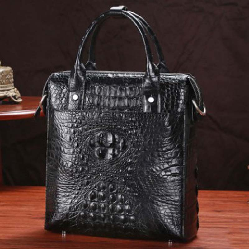 LINSHE Crocodile  Men's Bags  Man Bags  One Shoulder  Inclined Shoulder Bag  Genuine Leather  Handbag  Male Vertical Section