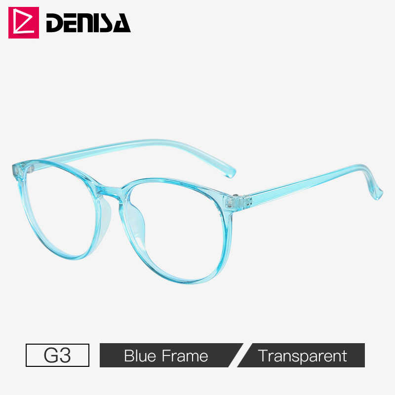 Denisa azul óculos de bloqueio de luz feminino óculos de computador de segurança 2020 moldura preta óculos redondos para homem quadro g8044