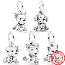 Authentische 925 Sterling Silber Pet Serie Französisch Bulldog Welpen Hund Charme Fit Pandora Armband DIY Anhänger