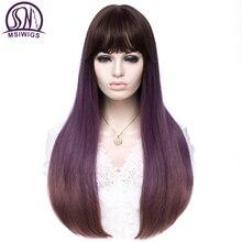 MSWIIGS Pink Purple Gradient Long Synthetic Wigs Women Ombre