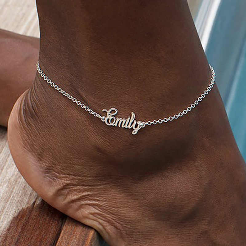 Nazwa własna stopka Anklet stal nierdzewna stalowy łańcuch personalizuj obrączki dla kobiet czeska biżuteria plażowa moda prezent dla druhny