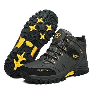 Image 3 - العلامة التجارية الرجال أحذية الشتاء الرجال الثلوج الأحذية الشتاء الدافئة الجلود الرجال أحذية رياضية في الهواء الطلق تنفس أحذية التنزه أحذية عمل