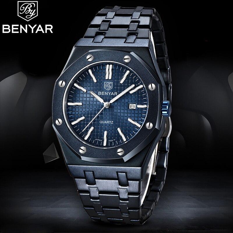 BENYAR Quartz Men's Watches 2020 New Top Brand Luxury Business Wristwatch Men Stainless Steel Waterproof Clock Relogio Masculino