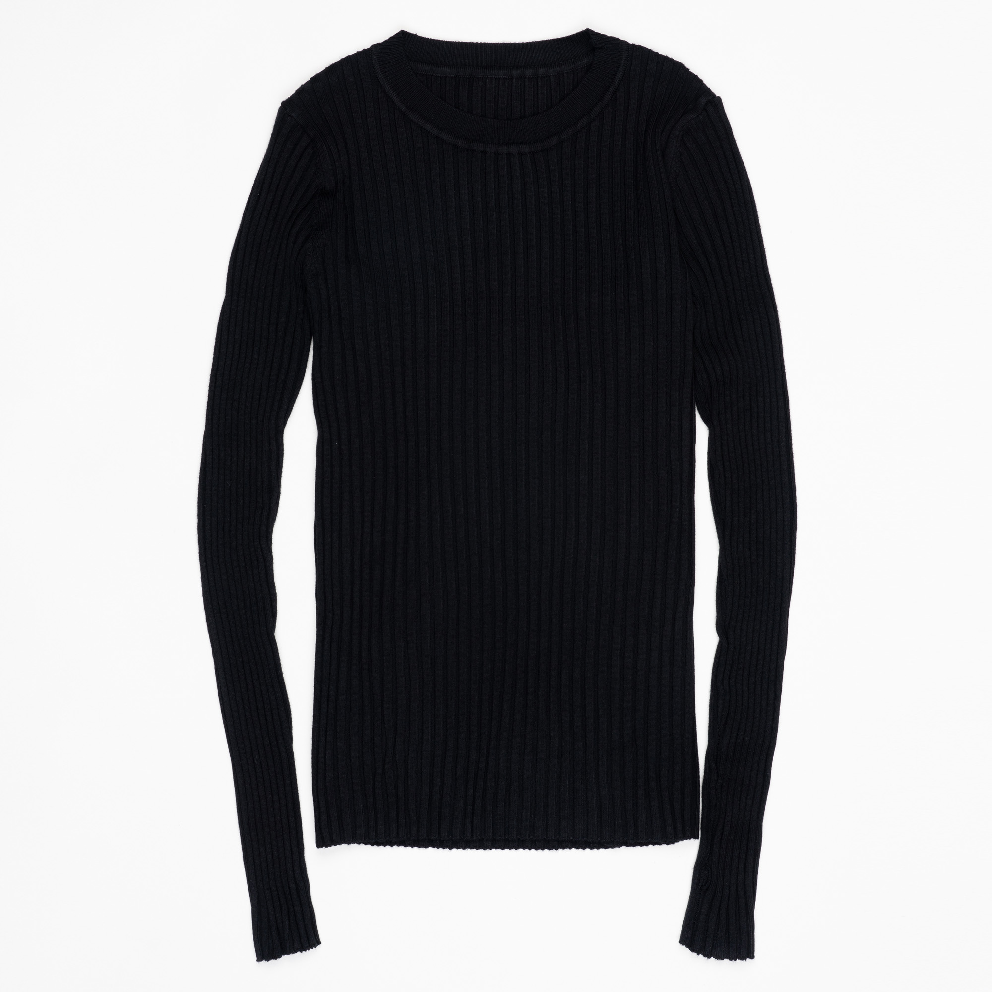 Women Sweater Pullover Basic Ribbed Sweaters Cotton Tops Knitted Solid Crew Neck With Thumb Hole 10